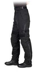 Pantalon moto imperméable noir avec protection.