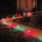 Set of 10 Red and Green C7 Christmas Pathway Marker lawn Stakes - Green Wire
