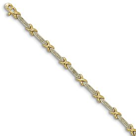 Genuine IceCarats Designer Jewelry Gift Sterling Silver Vermeil Diamond Accent X Bracelet In Sterling Silver And 7.00 Inch