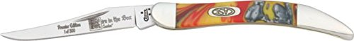 Case Cutlery 910096Fib Fire In Box Toothpick Pocket Knife With Stainless Steel Blade, Red, White And Yellow Mixed Corelon