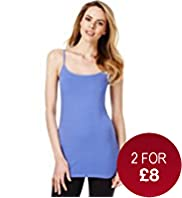 Fairtrade Cotton Rich Strappy Longline Vest with Stay New&#8482;