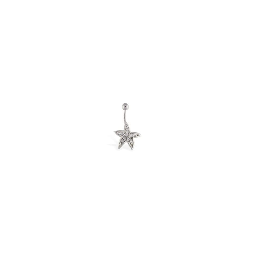 316L Surgical Steel Gem Starfish Belly Navel Ring Jewelry