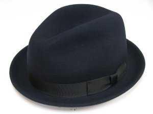 (ニューヨークハット)NEW YORK HAT ライトフェルト中折れハット NY5325-STINGY FEDORA ネイビー 59cm(L)