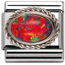 Nomination Composable Women's Bead Classic in Steel Silver 925 + Red Opal Stone