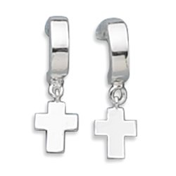 Sterling Silver 1/2 Hoop with Cross Charm Earrings