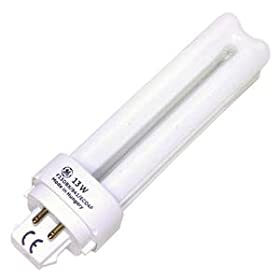 GE 97597 - F13DBX/841/ECO4P - 13 Watt Quad-Tube Compact Fluorescent Light Bulb, 4 Pin, 4100K