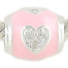 Sterling Silver and CZ PINK ENAMEL HEART Bead Charm for Pandora or Chamilia Bracelet GIFT BOXED