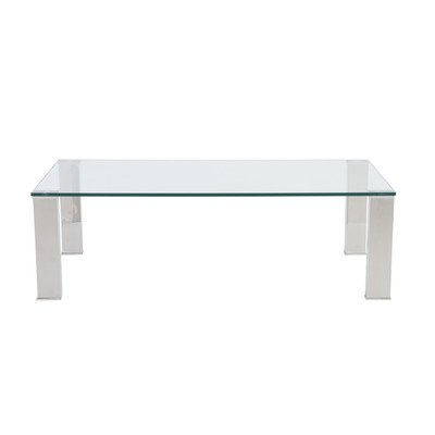 Eurostyle Beth Rectangle 48x24 Coffee Table in Clear & Stainless Steel