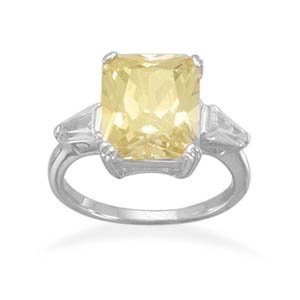 Sterling Silver Rhodium Plated Rectangle Yellow CZ Ring with Graduated Baguette CZ Sides / Size 8