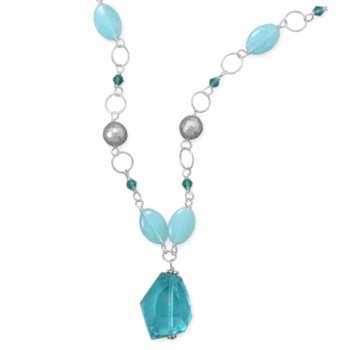 Aqua Blue Crystal Nugged Necklace with, Blue Jade and Teal Crystal Sterling Silver Adjustable Length