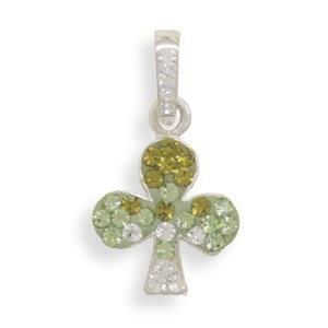 Green Crystal Shamrock Pendant