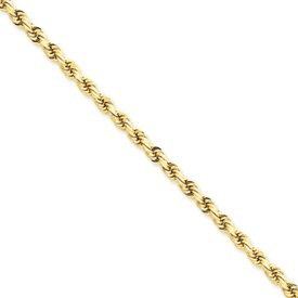 14k 4mm D-Cut Rope Lobster Clasp Chain Necklace - 30 Inch - Lobster Claw - JewelryWeb