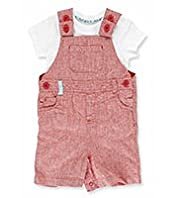 2 Piece Autograph Linen Blend Bodysuit & Chambray Bibshort Dungaree Outfit