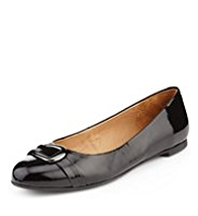 Footglove™ Premium Leather Patent Finish Buckle Trim Pumps