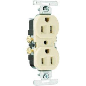 Pass & Seymour 3232Icacc20 2 Pole 3 Wire Copper/Aluminum Standard Duplex Outlet, 15-Amp, 125-Volt, Ivory