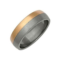  Titanium and 9ct Rose Gold Ti2 D Shape Band Ring -Size V 