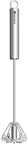 Milk Frother - Froth Wizard Stainless Steel Manual Push Whisk - Perfect Environmentally Friendly Gift - Impress Friends - Restaurant Foam For Coffee, Latte, Cappuccino and Hot Chocolate (Manual Milk Frother compare prices)