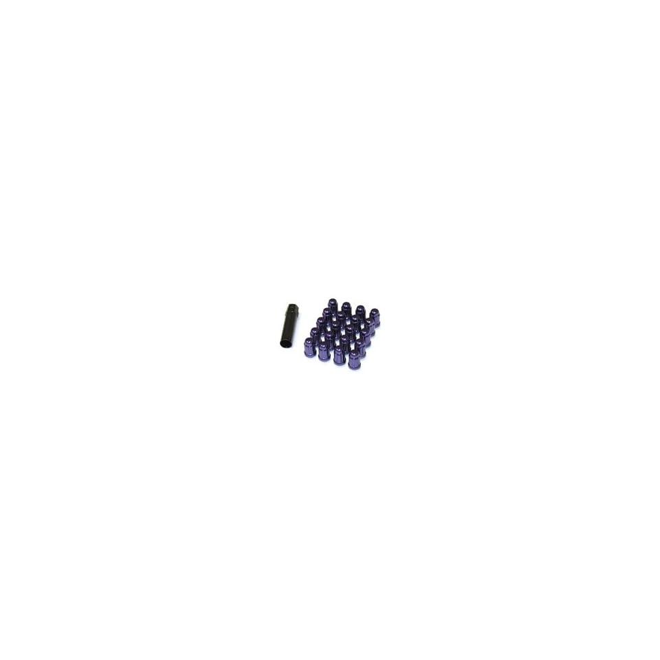 Muteki 41886L Purple 12mm x 1.5mm Closed End Spline Drive Lug Nut Set with Key, (Set of 20)