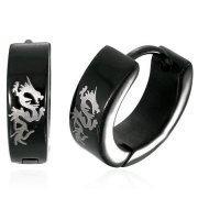 Urban Male Black Stainless Steel Men's Dragon Hinged Hoop Earrings (Pair)