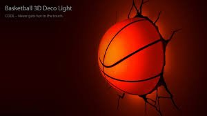 3d deco light basketball dirait que le basket ball a franchi le mur - Deco basketball chambre ...