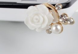 Karp lovely candy rose flower charms mobile phone dust plug,dust plugs for cell phones