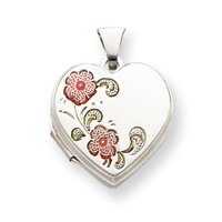 Sterling Silver Floral 18mm Heart Locket