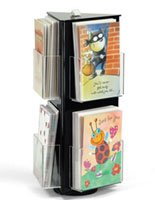 Displays2go Acrylic Greeting Card Display Stand with Clear Pockets for Countertop Use, Rotating Triangular Shape with Sign Clip, Black (GCHAC6)