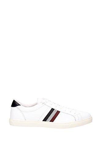 Sneakers Moncler Uomo Pelle Bianco, Blu e Rosso B109A101270007891002 Bianco 44EU