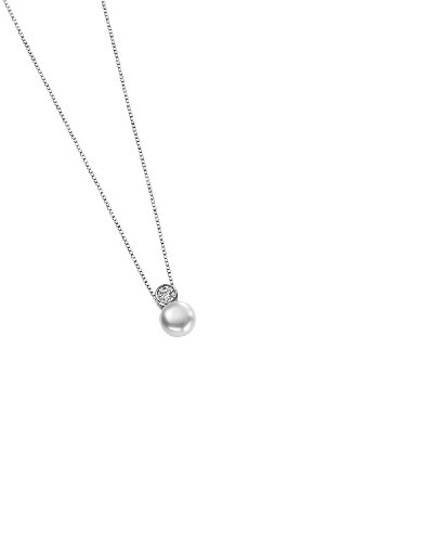 Elements Sterling Silver P2855W Ladies' White Freshwater Pearl & Cubic Zirconia Slider Pendant on Chain 35.5cm