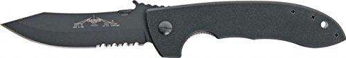 Emerson Cqc-8 Wave Linerlock Folding Knife,Black Serrated, G10 Composite Handle Cqc8 W Bts
