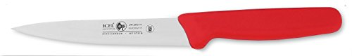 """ICEL Cutlery 5.5"""" Stiff Boning Knife Extra Wide Straight Blade, Red Handle"""