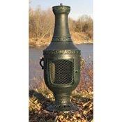 Outdoor-Chimenea-Fireplace-Venetian-in-Antique-Green-Finish-Gas-Fueled