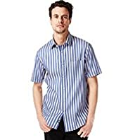 Blue Harbour Premium Pure Cotton Short Sleeve Double Face Striped Shirt