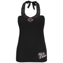 Harley-Davidson Womens Ride Forever Tie Neck Satin Trim Black Sleeveless Halter