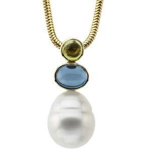 Jewelplus South Sea Cultured Circla Pearl, Genuine Peridot & Genuine London Blue Topaz Pendant 14K White 12.00 Mm/05.00 Mm/08.00X06.00