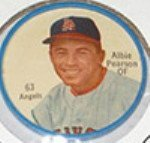 1962 Salada Tea Coins (Baseball) Card# 63 Albie Pearson (White Buttons) Of The Los Angeles Angels Exmt Condition