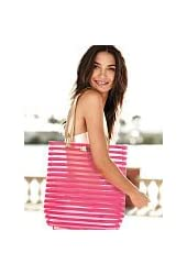 VICTORIA'S SECRET Beach clear Tote Bag with pink tripes