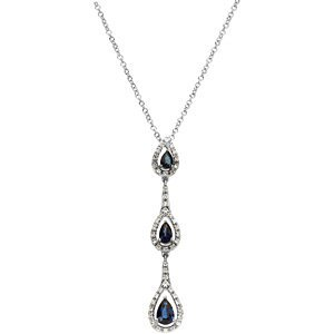 Genuine IceCarats Designer Jewelry Gift 14K White Gold Genuine Sapphire And Diamond Necklace