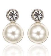 M&S Collection Pearl Effect Snowman Diamanté Stud Earrings
