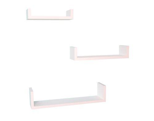 Welland u shape display wall shelf set 3 white home garden for Wall shelves and ledges