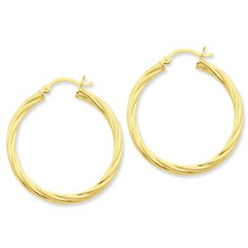 Genuine IceCarats Designer Jewelry Gift Sterling Silver Gold-Flashed Twist 35Mm Hoop Earrings