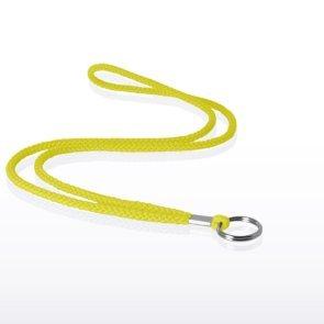 Stock Lanyard - Round Woven w/ Split Ring - Yellow