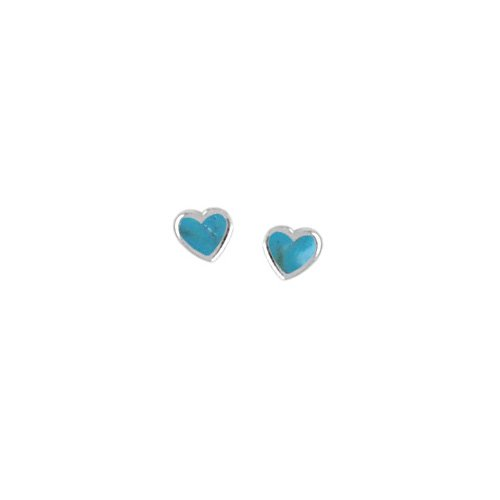 Boma Turquoise & Sterling Silver Heart Post Earrings