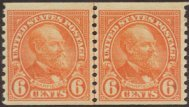 USA Collectible Postage Stamps: 1932 6c. deep orange coil. Garfield. SC 723. Joint Line Pair. Mint Non Hinged
