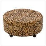 Luscious Leopard Round Ottoman