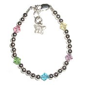 Silver w/Pastel Crystal Sterling Silver Infant Baby Bracelet 0-12 months, beads and pastel Czech crystals with butterfly charm