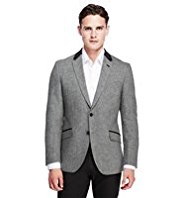 Autograph Wool Blend 2 Button Contrast Velvet Collar Jacket