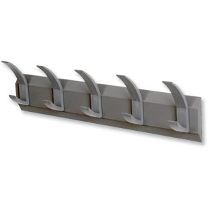 Acorn Linear Hat and Coat Wall Rack with Conclealed Fixings 5 Hooks Graphite Ref 319875 (319875)