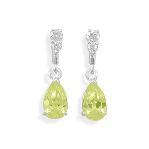 Clear CZ Post Earrings with Pear Shape Lime Green CZ Drop