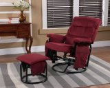 Kings Brand Red Microfiber Extra Wide Glider & Ottoman Set